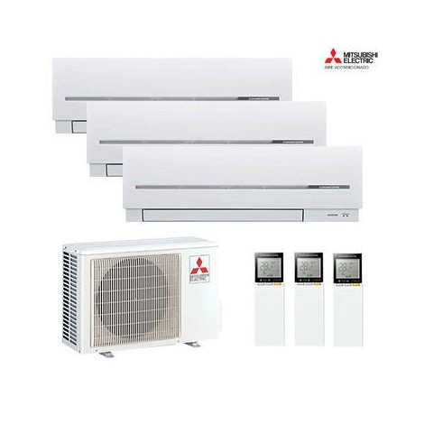 AIRE ACONDICIONADO 3X1 MULTISPLIT MITSUBISHI ELECTRIC MXZ-3D54VA + MSZ-SF20VE + MSZ-SF20VE + MSZ-SF20VE